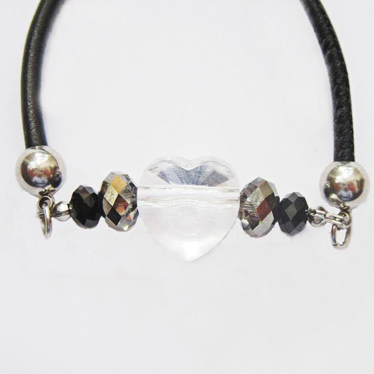 Trust black leather adjustable friendship bracelet - Aistikas