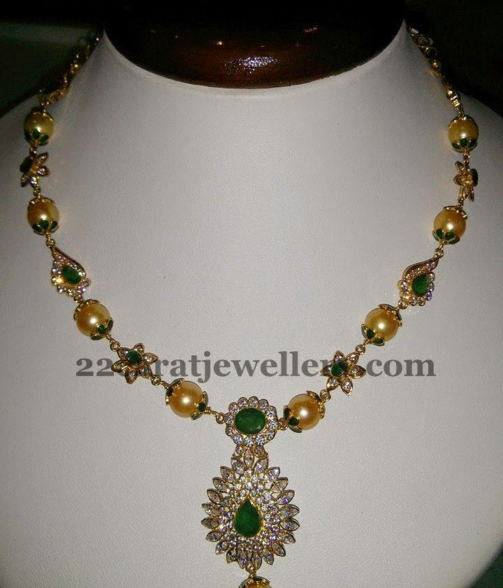 Pearls and CZ Set only 87k | Jewellery Designs
