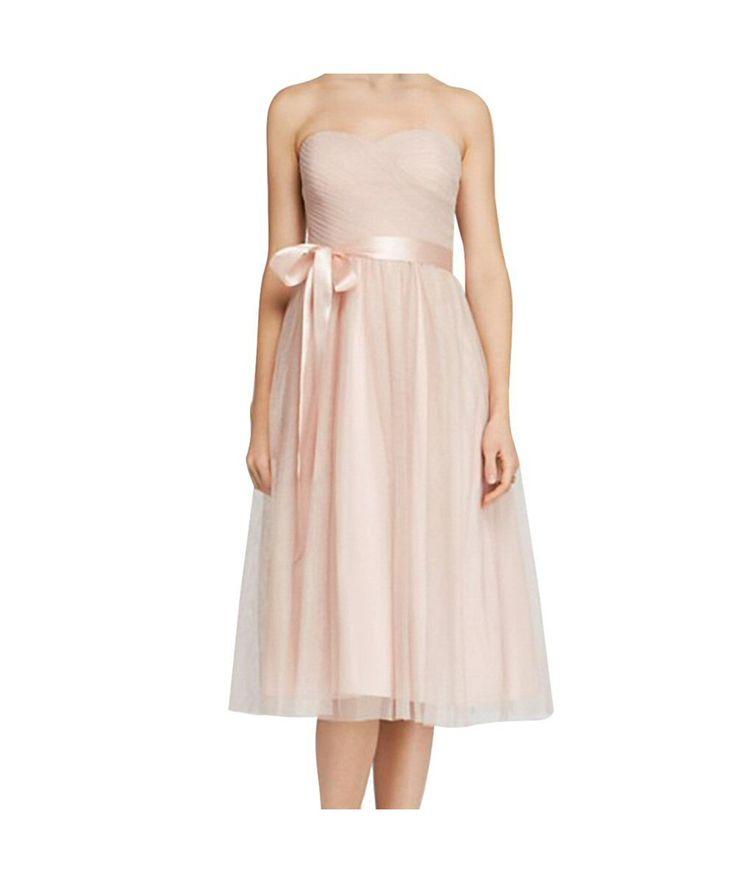 Aidan Mattox Strapless Shimmer Tulle Midi Dress