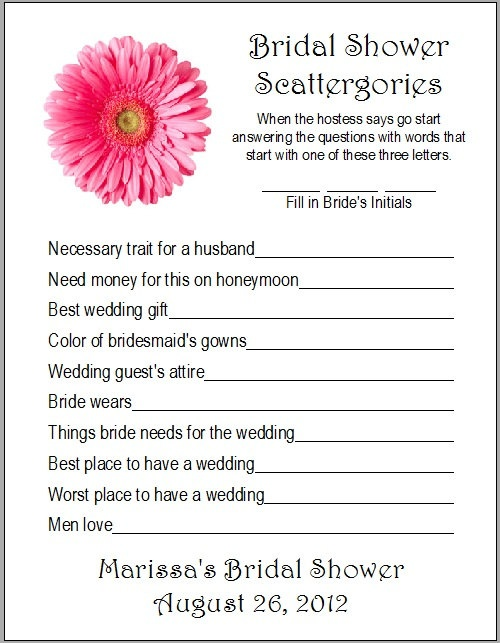 24 Personalized SCATTERGORIES Bridal Shower Game by Print4U, $7.00