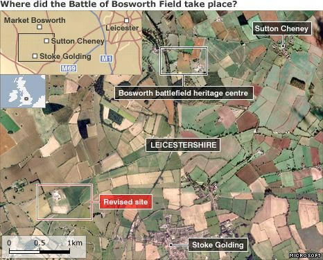 Map showing revised location of Battle of Bosworth