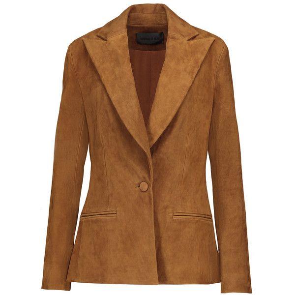 Cushnie et Ochs - Stretch-suede Blazer ($984) ❤ liked on Polyvore featuring outerwear, jackets, blazers, light brown, brown jacket, brown suede leather jacket, cushnie et ochs, blazer jacket and cut out blazer