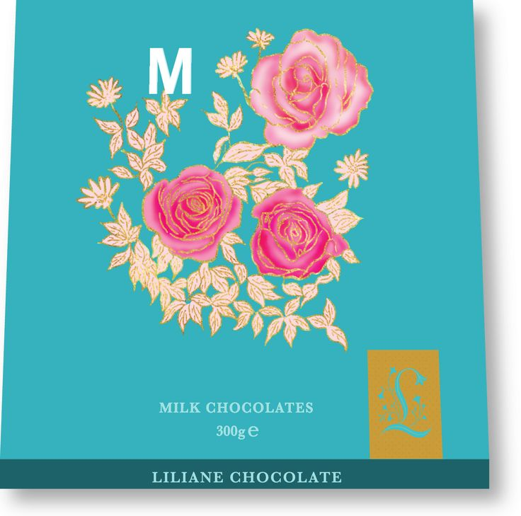 Lillian Milk Chocolate Packaging, Rose Floral Illustration and Drop Cap Letter M