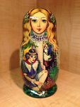 """RUSSIAN COUNTRY SCENES by STEPKAEVA RUSSIAN MATRYOSHKA NESTING DOLL 12 3/4"""" 15pc 