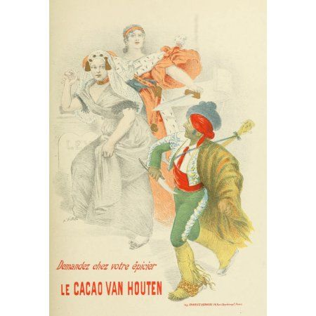 Les Affiches Illustres (1886-1895) 1896 Le Cacao Van Houten Canvas Art - Adolphe Willette (24 x 36)