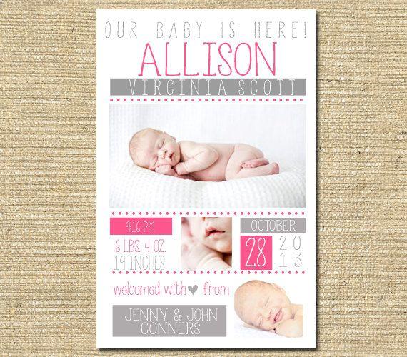 Baby Girl Birth Announcement   Custom Photo by PinkSangriaDesigns, $10.00