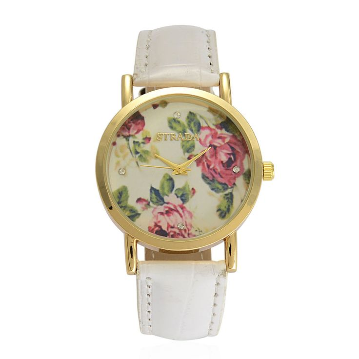 AUSTRIAN CRYSTAL LADIES WATCH WHITE WITH FLOWERS BRAND NAME WATCH JAPAN MOVEMENT #STRADA