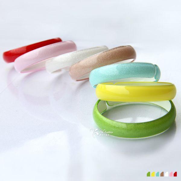 韩版糖果色亚克力窄沙滩手镯子手臂环圈可爱女生时尚塑料饰品欧美