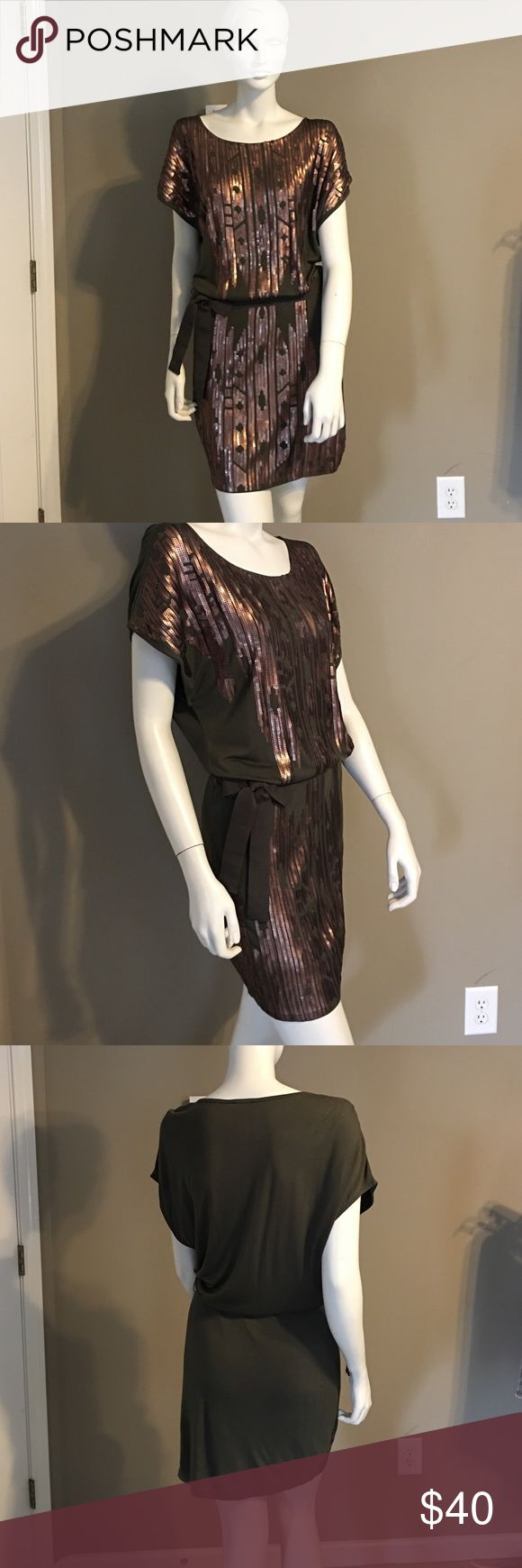 MNG by Mango Jeans Sequin Accent Dress MNG by Mango Jeans dress with bronze sequins on the front. No missing sequins. Bottom part of the dress is lined. Color - olive.  No trades. Firm price, no offers. Mango Dresses Mini