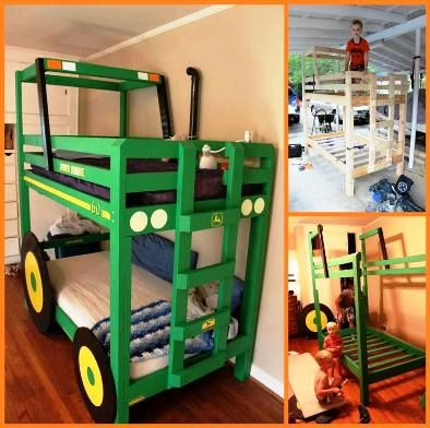 DIY Tractor Bunk Bed With a lil tweeking i think it could be a race car bunk bed