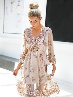 Elegant Long Sleeve V Neck Sequin Dress