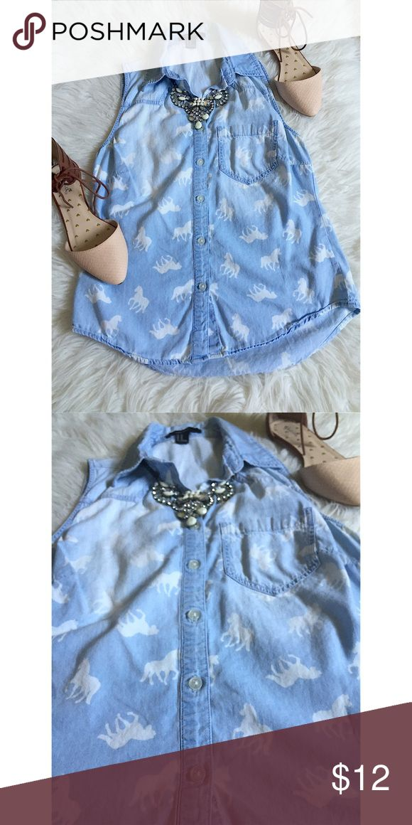 Denim button down Size = XS, denim horse print, sleeveless shirt, faded look, very unique and cute.  ~ I DO NOT SWAP, SO PLEASE DON'T ASK. YOU WILL BE IGNORED.  ~ I NO LONGER HOLD MY ITEMS, FIRST COME FIRST SERVE.   ~YOUR PURCHASE WILL BE SHIPPED WITHIN 24-48 HOURS AFTER PURCHASED, FROM THAT POINT ON I CANNOT CONTROL HOW LONG IT WILL TAKE FOR THE SHIPPING SERVICE TO GET IT TO YOU. *PLEASE BE PATIENT*  ~I AM MORE THAN HAPPY TO MAKE YOU A BUNDLE. Forever 21 Tops Button Down Shirts