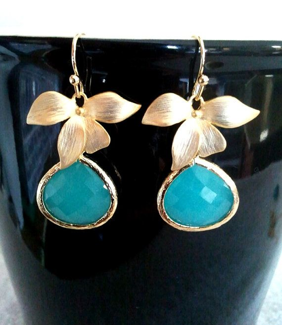 Mint Blue Wedding Earrings Bridesmaid GiftWedding by LaLaCrystal, $24.50
