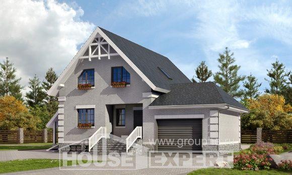 200-009-R Projekt domu trzykondygnacyjnego mansardą, garaż, średni dom z bloków, Kraków