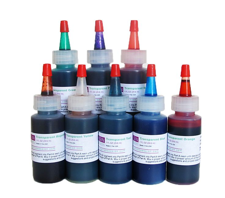 Resin Obsession transparent color pigments - complete set of eight colors