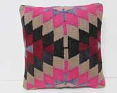 pink kilim pillow pouf knitted cushion cover wool cushion cover contemporary pillow case boho cushion cover pink throw pillow sham rug 26657