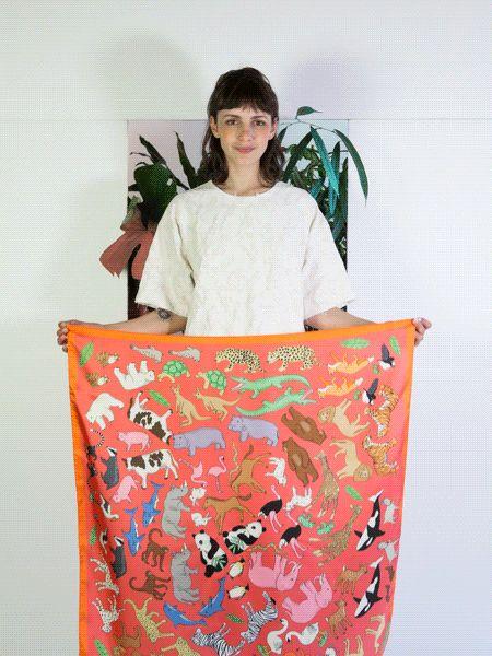 Karen Mabon Orange Noah's Ark Silk Scarf