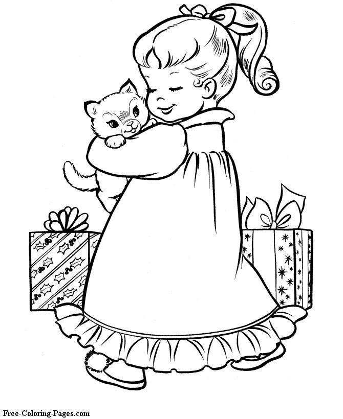 Image Result For Little Girl Coloring Pages Christmas Coloring
