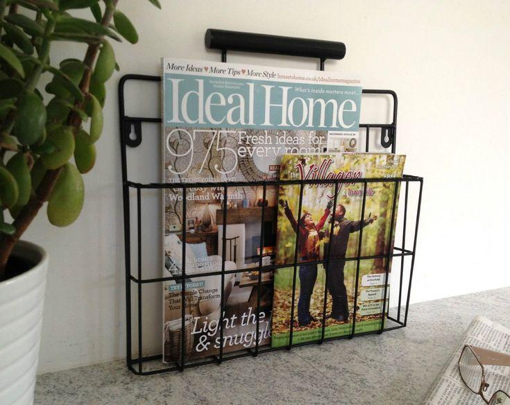 Black Magazine Rack Newspaper Holder Wire Post Basket Wall Mounted Storage:  Amazon.co.