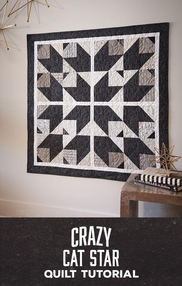 Man Sewing Crazy Cat Star Quilt Quilts Star Quilt Quilt Patterns