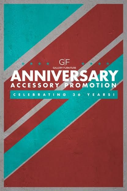 Gallery Furniture Is Thrilled To Announce An Anniversary Celebration Like  No Other! Help Us Celebrate By Taking Advantage Of Our 36 Year Anniversary  Sale ...