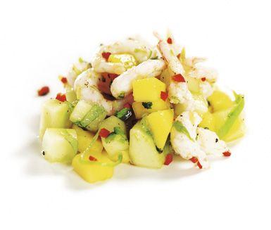 Mangosalsa med räkor och gurka - server i små glass