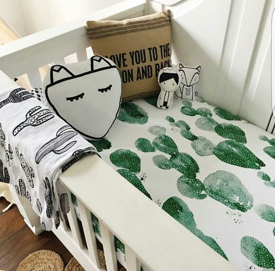 """Our obsession with watercolor and Cacti collide. Our exclusive Cactus Print is sure to be the perfect addition to your nursery! CRIB SHEET: Printed on 100% Organic Cotton Knit - our """"Donut Love"""" sheet"""