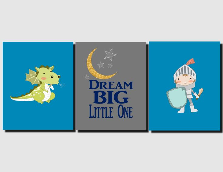 Knights and Dragons, Boy Nursery Art, Knights, Dragon, Dream Big Little One, Kids Wall Art, Canvas or Prints, Personalized Set of 3 by vtdesigns on Etsy