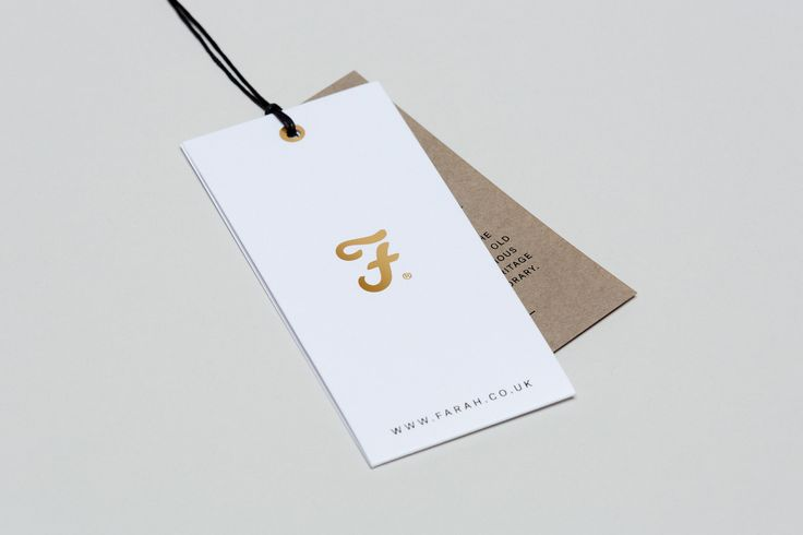 Brand identity and gold block foil clothing tag for British fashion brand Farah by graphic design studio Post