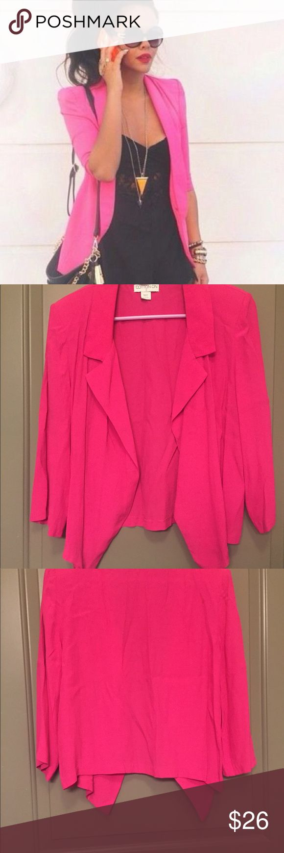 Hot pink Blazer This Blazer is so cute and comfy. Only worn once. I bought it in New Zealand. It has small shoulder pads sewn in. Cotton On Jackets & Coats Blazers