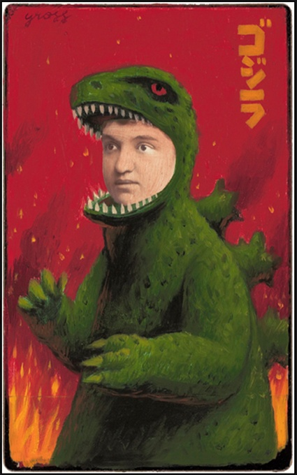 "Pgeist620 - ""Godzilla"" Altered Cabinet Card by Alex Gross"