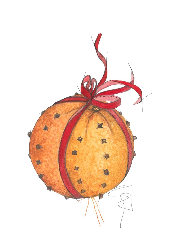 """Nellikappelsin"" (Christmas decorated orange) Copyright: Emmeselle.no illustration by Mona Stenseth Larsen"