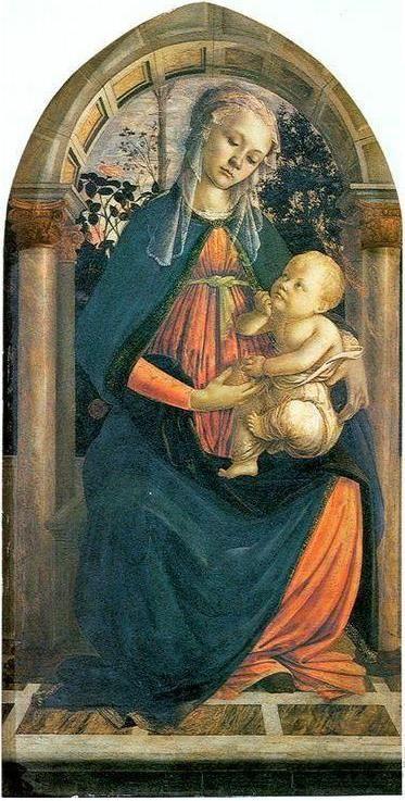 Sandro Filipepi called Botticelli I The Madonna of the Roses, ca.1470, early Renaissance, tempera on panel, 64×124cm, Galleria degli Uffizi, Firenze.