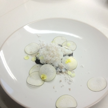 Ike Jime Squid With Smoked Goats Curd, Young Coconut And Black Radish @ Le Cordon Bleu - Done by australian Chef Mark Best