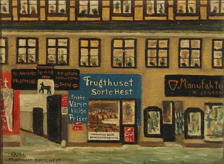 Naivistisk maleri af Frugthuset Sorte Hest fra 1918.