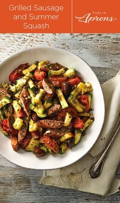 The Grilled Sausage and Summer Squash is the Publix Aprons recipe that's ready for anything. Throw it on a bed of salad greens or a toasted bun, or maybe some rice. Make a sandwich by serving the whole sausage quarters in buns with grilled vegetables and dressing on top. Don't forget the peppers!