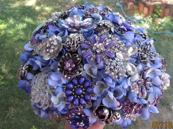 Purple Brooch Bouquet, brooch bouquet, broche bouquet, broach bouquet, purple bouquet, hand wired brooch bouquet, katy's clips, pin bouquet on Etsy, $235.95