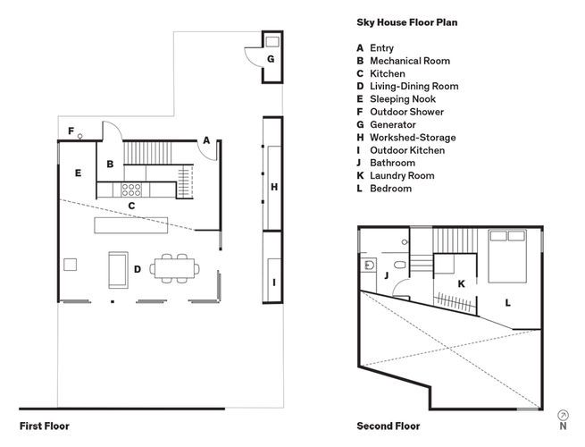 Sky house floor plan a entry b mechanical room c kitchen d for Outdoor floor plan