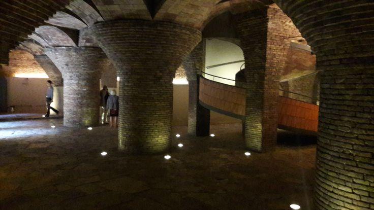 En el diseño del establos del Palau Güell se advierte de nuevo el genio de Gaudí, resolviendo los problemas arquitectónicos y teniendo en cuenta  la ventilación e higiene de un lugar en el que habían de habitar animales. Al sótano se accede por una rampa helicoidal.  Las columnas de mampostería sostienen las estructura del edificio. La vista es impresionante.Es la única obra de Gaudí con ladrillo visto.