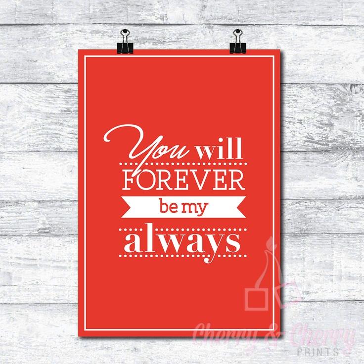 Cherry & Cherry PRINTS - Forever be my Always Cod produs: D-087 Disponibil...