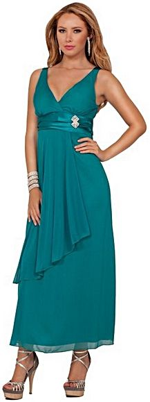 http://www.formalworkattire.com/cocktail-attire-for-women/  Hot from Hollywood V-Neck Empire Waist Long Dress.