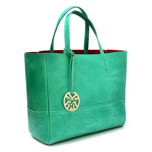 Marta Jonsson Green Leather Grab Bag with Gold MJ Detail