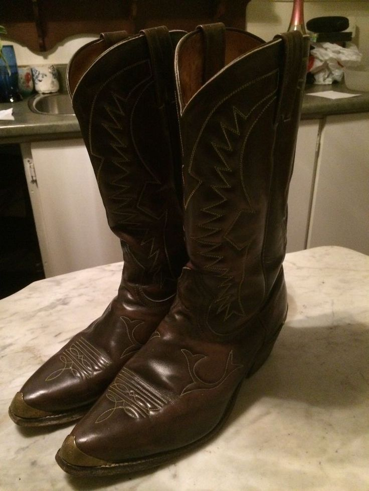 Vintage cowboy western '1980 brass metal toe rockabilly mens boots size 9  | eBay