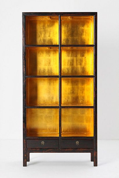 oh my love this gilded bookcase. Gold leaf or paint the inside of a shelf