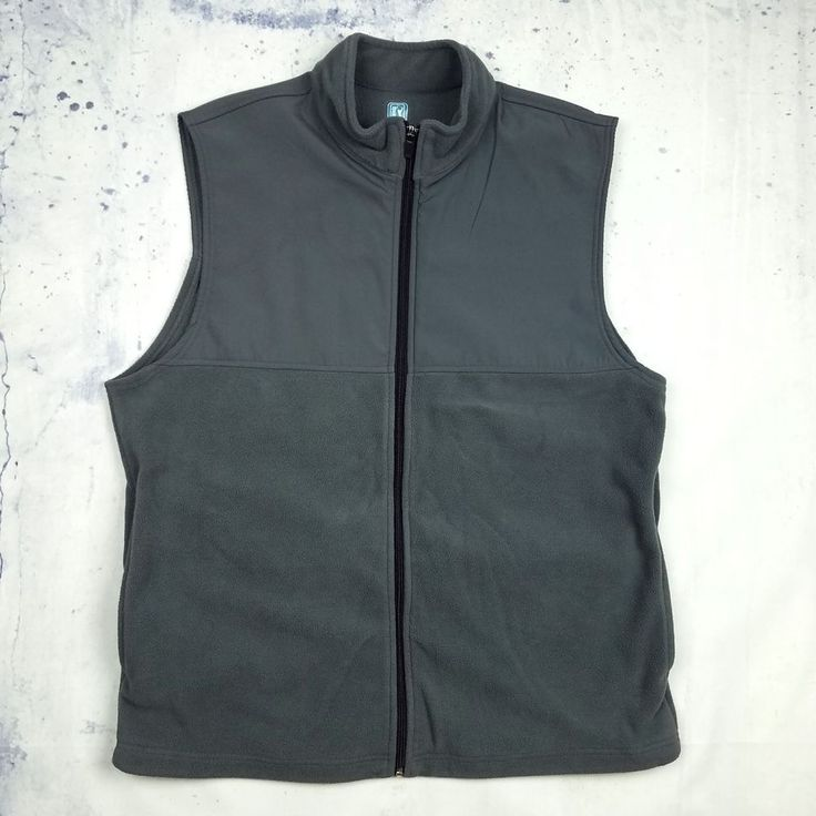 PGA TOUR Men's Gray Fleece Vest Golf Full Zip Sleeveless Casual Large Fast Ship #PGATOUR #Vest