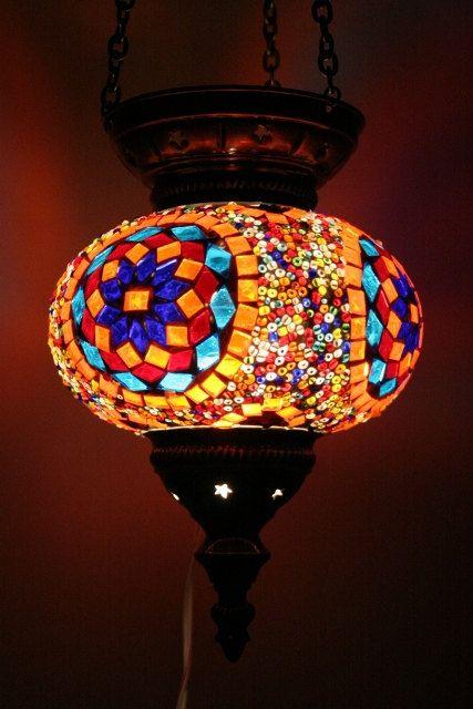 Large Turkish Moroccan mosaic hanging lamp pendant lantern lighting lampshade. $69.00, via Etsy.