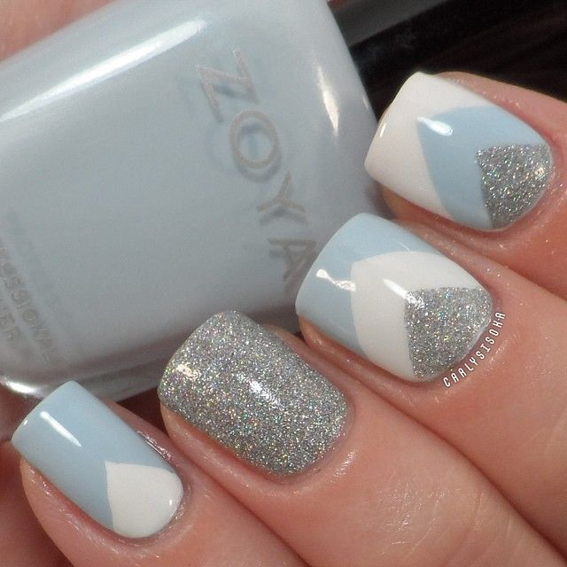 Nail Art - Chevron using Zoya Blu, Chinaglaze Glistening Snow and Sinful Colors Snow Me White