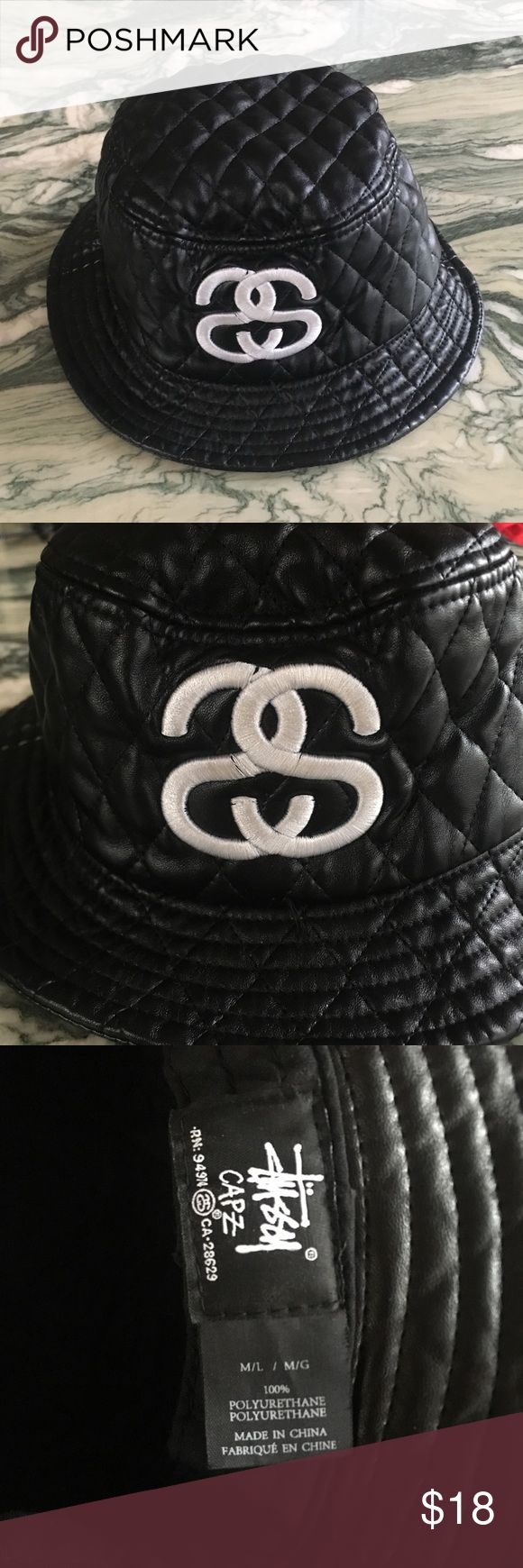 Stussy Bucket Hat Black quilted stussy bucket hat Stussy Accessories Hats