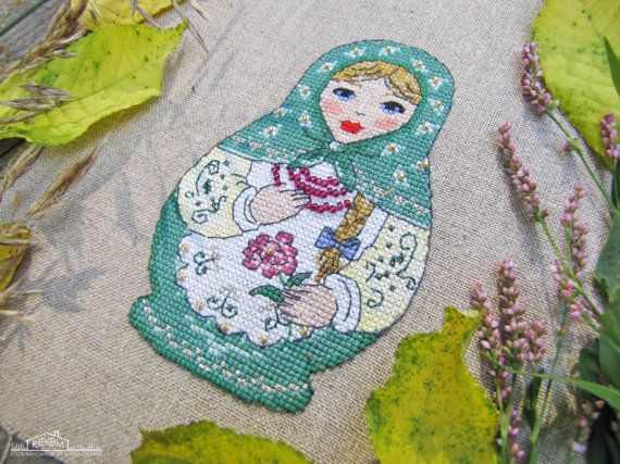 Matryoshka Doll PDF cross stitch pattern / by LittleRoomInTheAttic
