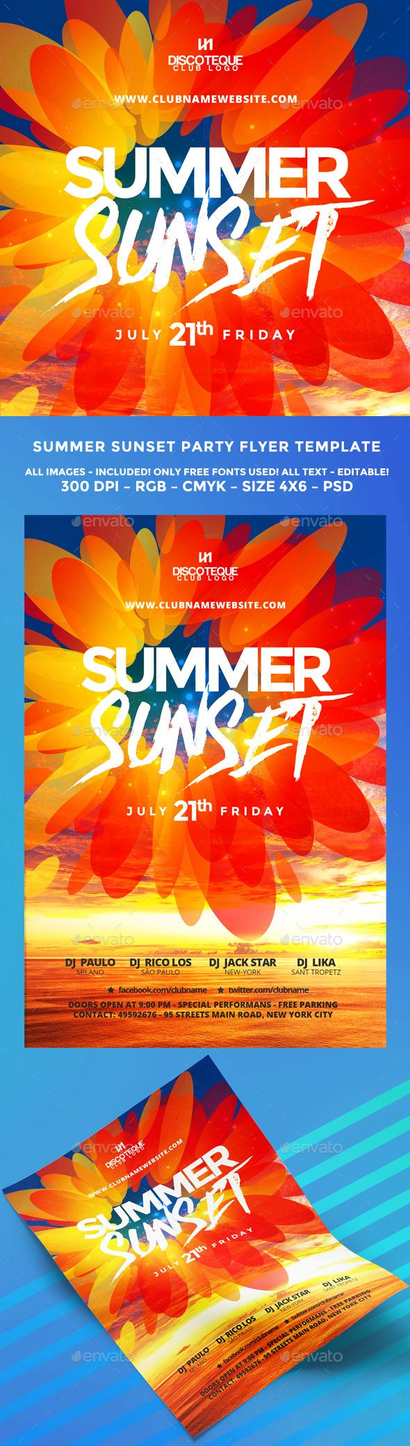 PSD Wonderful Summer Flyer  Template • Only available here ➝ http://graphicriver.net/item/summer-flyer/16356079?ref=pxcr